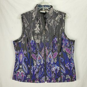 Chico's Quilted Paisley Insulated Vest 2 12 14